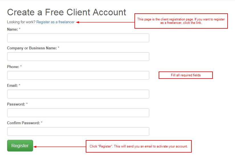 signup client